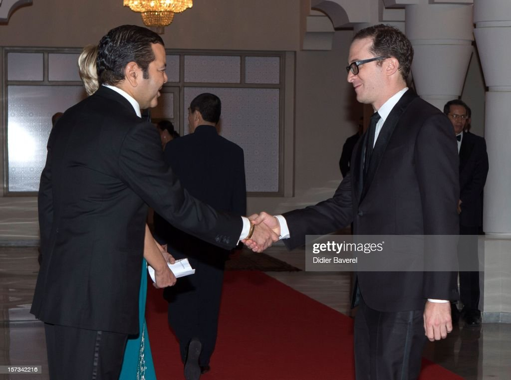 Prince Moulay Rachid of Morocco greets <a gi-track='captionPersonalityLinkClicked' href=/galleries/search?phrase=James+Gray&family=editorial&specificpeople=2479723 ng-click='$event.stopPropagation()'>James Gray</a> before the Gala Dinner at the Tribute to Hindi Cinema ceremony at the 12th Marrakech international Film Festival on November 30, 2012 in Marrakech, Morocco.