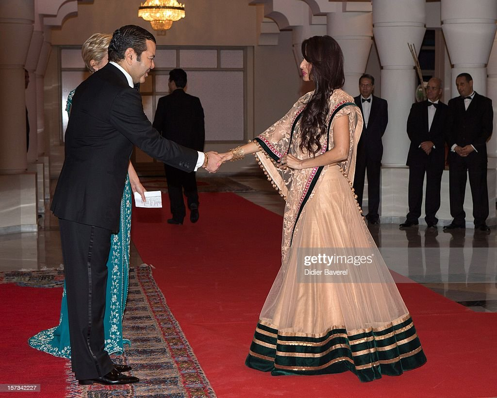 Prince Moulay Rachid of Morocco greets Malika Arora Khan before the Gala Dinner at the Tribute to Hindi Cinema ceremony at the 12th Marrakech international Film Festival on November 30, 2012 in Marrakech, Morocco.