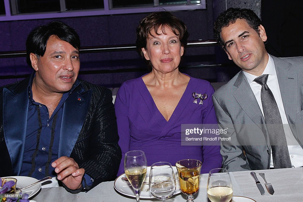 Prince Mubarak Fahd S. Al Sabah, Roselyne Bachelot Narquin and tenor Juan Diego Florez attend AROP Gala Dinner on October 18, 2012 in Paris, France.