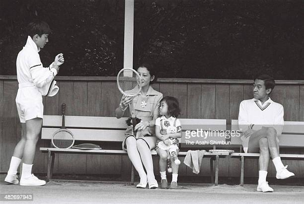 Prince Naruhito Crown Princess Michiko Princess Sayako and Crown Prince Akihito enjoy tennis at a tennis court on August 24 1973 in Karuizawa Nagano...