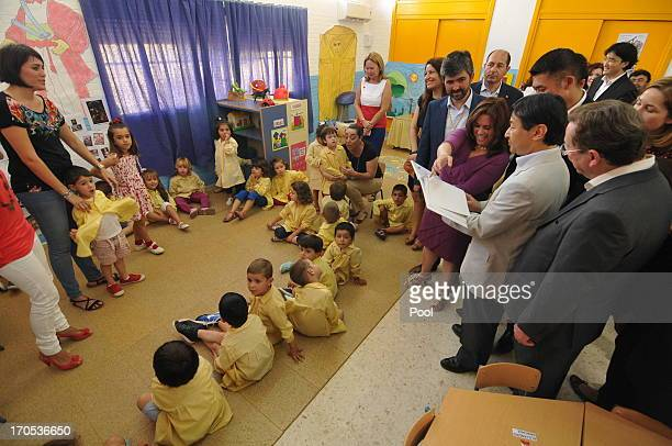 Prince Naruhito of Japan visits a classroom at Vicente Neria in Coria del Rio on June 14 2013 in Sevilla Spain Japanese Crown Prince Naruhito is on a...