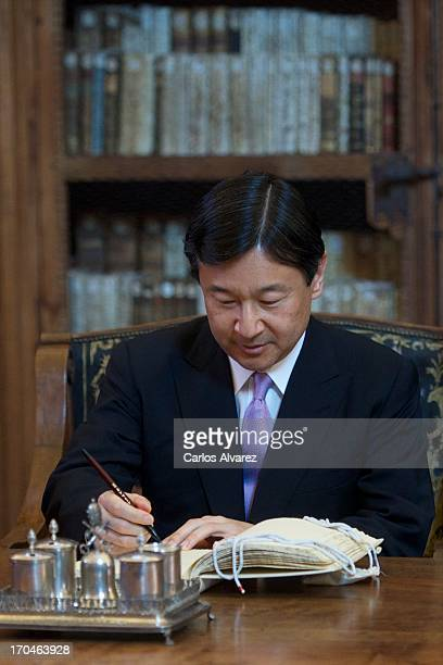 Prince Naruhito of Japan visits the Salamanca University during the fourth day of his visit to Spain on June 13 2013 in Salamanca Spain Japanese...