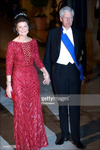 Prince Nicolaus of Liechtenstein and Princess Margaretha of Liechtenstein arrive at the Gala Dinner for the wedding of Prince Guillaume Of Luxembourg...