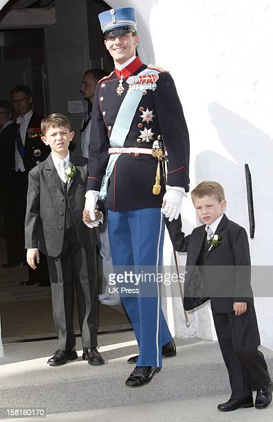 Prince Nikolai And Prince Felix Of Denmark Attend The Wedding Of Prince Joachim Of Denmark And Miss Marie Cavallier At Mogeltonder Church In...