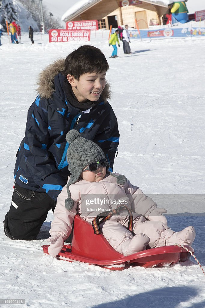 Prince Nikolai and Princess Athena of Denmark pose during an annual family skiing holiday on February 13, 2013 in Villars-sur-Ollon, Switzerland.