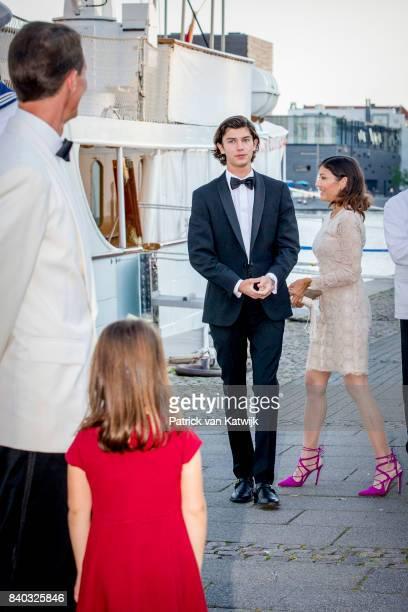 Prince Nikolai of Denmark and Countess Alexandra of Denmark attend his 18th birthday celebration of Prince Nikolai at royal ship Dannebrog on August...