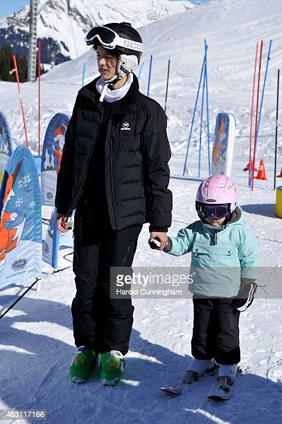 Prince Nikolai of Denmark and Princess Athena of Denmark attend the Danish Royal family annual skiing photocall whilst on holiday on February 10 2015...