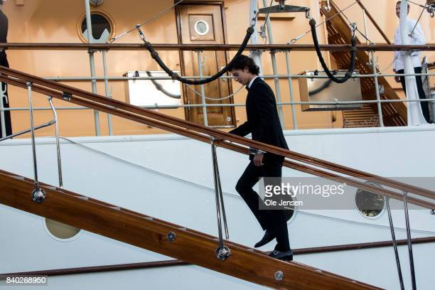 Prince Nikolai of Denmark embarks the royal ship Dannebrog where his grandmother Queen Margrethe host a dinner party on the occasion of his 18th...