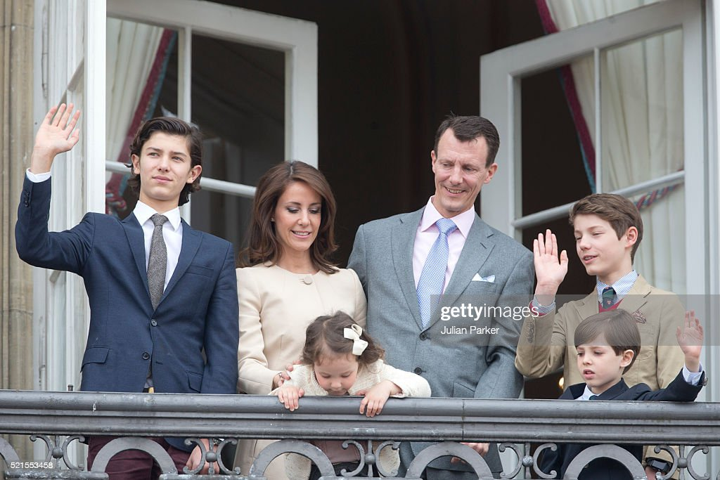 Prince Nikolai of Denmark, Princess Marie of Denmark with Princess Athena, Prince Joachim of Denmark, Prince Henrik and Prince Felix attend Queen Margrethe II of Denmark's 76th Birthday Celebration at Amalienborg Palace on April 16, 2016 in Copenhagen, Denmark