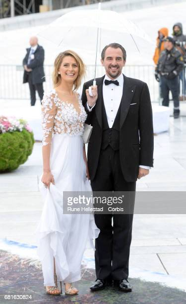 Prince Nikolaos and Princess Tatiana of Greece are seen arriving at the Opera House on the occasion of the celebration of King Harald and Queen Sonja...