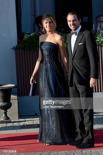 Prince Nikolaos and Princess Tatiana of Greece attend a private dinner on the eve of the wedding of Princess Madeleine and Christopher O'Neill hosted...