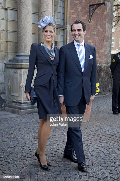 Prince Nikolaos And Princess Tatiana Of Greece Attend The Christening Of The Danish Royal Twins At Holmens Church CopenhagenThe Twins Were Christened...
