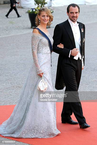 Prince Nikolaos of Greece and Princess Tatiana of Greece attend the royal wedding of Prince Carl Philip of Sweden and Sofia Hellqvist at The Royal...