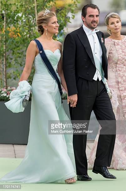 Prince Nikolaos of Greece and Princess Tatiana of Greece leaving for Drottningholm Palace after the wedding of Princess Madeleine of Sweden and...