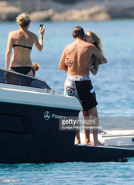 Prince Nikolaos of Greece and Tatiana Blatnik sit in a raft on August 24 2010 in Spetses Greece