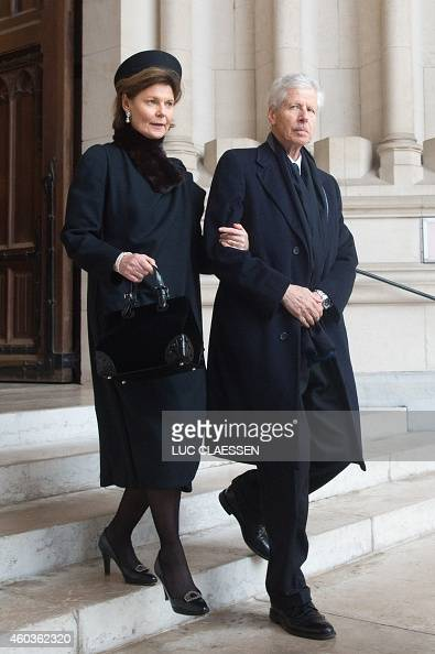 Prince Nikolaus and Princess Margaretha of Lichtenstein leave the church NotreDame after the funeral service of the late queen dowager Fabiola in...