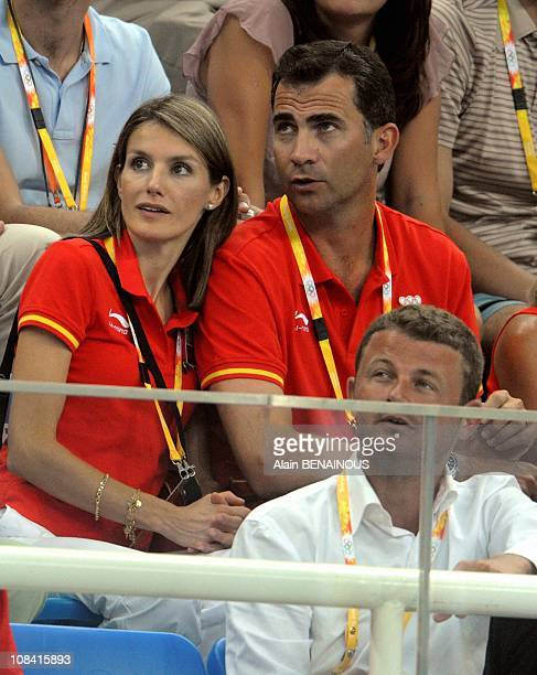 Prince of Spain Felipe and Letizia attend the swimming preliminary qualification at the XXIX Olympic Games in Beijing China on August 10th 2008