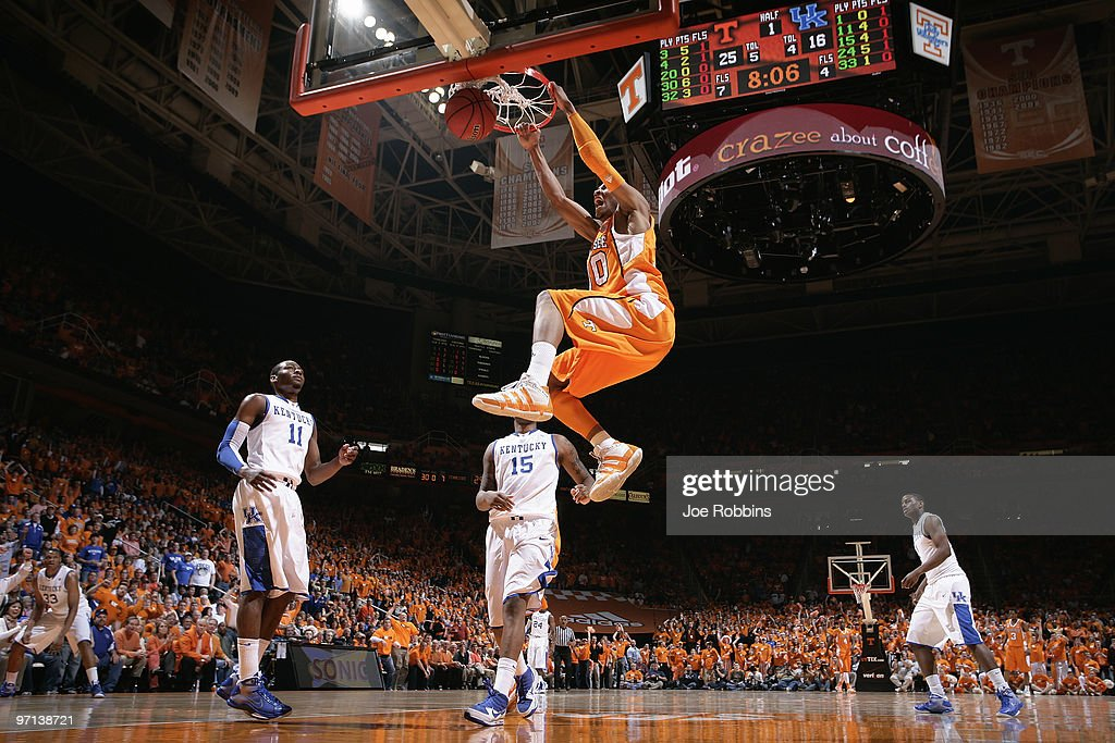 P Prince of the Tennessee Volunteers slam dunks the basketball for two of his gamehigh 20 points against the Kentucky Wildcats at ThompsonBoling...