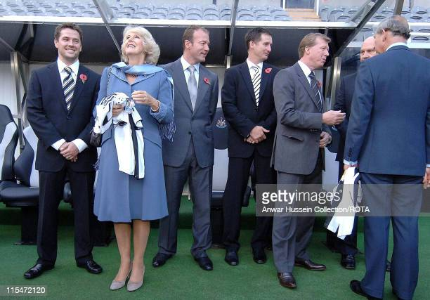 HRH Prince of Wales and HRH Camilla Duchess of Cornwall are joined by Michael Owen Alan Shearer manager Glen Roeder England manager Steve McLaren and...