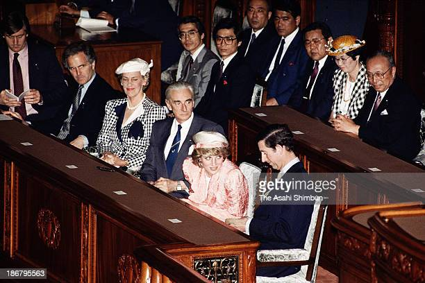 Prince of Wales Prince Charles and Princess of Wales Princess Diana attend the lower house diet session on May 12 1986 in Tokyo Japan
