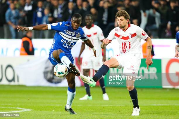 Prince Oniangue of Bastia and Xeka of Lille during the French Ligue 1 match between Bastia and Lille at Stade Armand Cesari on April 1 2017 in Bastia...
