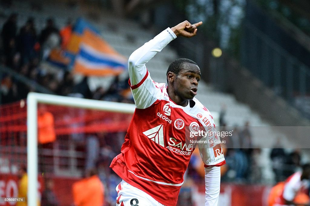 Prince Oniangue of Reims celebrates his goal during the French Ligue 1 match between Stade de Reims and Montpellier Herault SC at Stade Auguste Delaune on April 30, 2016 in Reims, France.