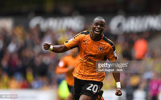 Prince Oniangue of Wolverhampton Wanderers celebrates after scoring a goal to make it 10 during the Sky Bet Championship match between Wolverhampton...