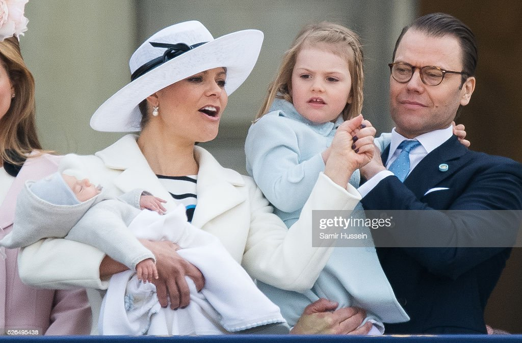 Prince Oscar of Sweden, Crown Princess Victoria of Sweden, Prince Daniel of Sweden and Princess Estelle of Sweden attend the choral tribute and cortege during the celebrations of the 70th birthday of King Carl Gustaf of Sweden on April 30, 2016 in Stockholm, Sweden.