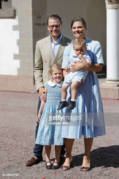 Prince Oscar of Sweden Prince Daniel of Sweden Princess Estelle of Sweden and Crown Princess Victoria of Sweden are seen meeting the people gathered...