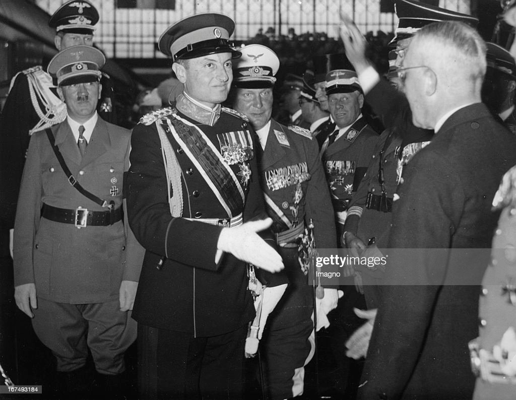 Prince Paul of Yugoslavia when he arrived in Berlin / Lehrter station. Reception by Minister Johannes Popitz (right) and <a gi-track='captionPersonalityLinkClicked' href=/galleries/search?phrase=Adolf+Hitler&family=editorial&specificpeople=90219 ng-click='$event.stopPropagation()'>Adolf Hitler</a> and <a gi-track='captionPersonalityLinkClicked' href=/galleries/search?phrase=Hermann+Goering&family=editorial&specificpeople=93518 ng-click='$event.stopPropagation()'>Hermann Goering</a>. 1st June 1939. Photograph. (Photo by Imagno/Getty Images) Prinzregent Paul von Jugoslawien bei seiner Ankunft in Berlin/Lehrter Bahnhof. Empfang durch Minister Johannes Popitz (rechts) und <a gi-track='captionPersonalityLinkClicked' href=/galleries/search?phrase=Adolf+Hitler&family=editorial&specificpeople=90219 ng-click='$event.stopPropagation()'>Adolf Hitler</a> sowie Hermann Göring. 1. Juni 1939. Photographie.