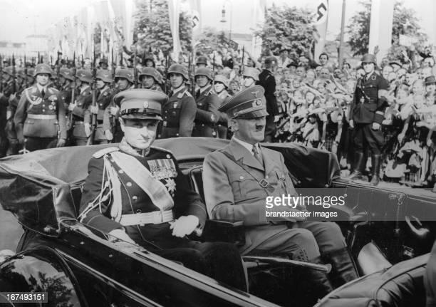 Prince Paul of Yugoslavia with Adolf Hitler at his visit in Berlin 1st June 1939 Photograph Prinzregent Paul von Jugoslawien mit Adolf Hitler bei...