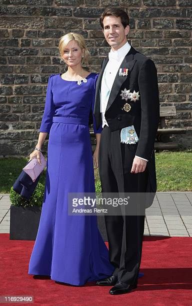 Prince Pavlos and crown Princess MarieChantal of Greece arrive for the wedding of Princess Nathalie zu SaynWittgensteinBerleburg and Alexander...
