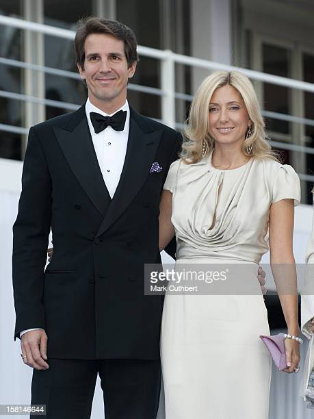 Prince Pavlos And MarieChantel Of Greece Arrive At The Ark Gala Dinner In London