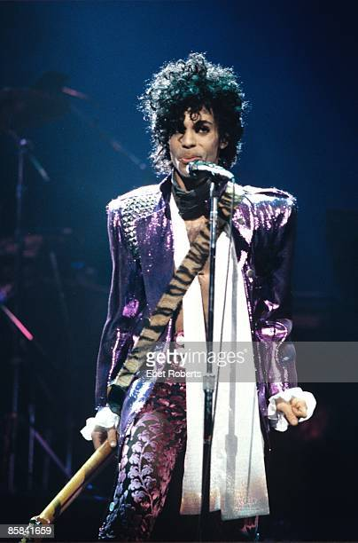 Photo of PRINCE Prince performing on stage Purple Rain tour