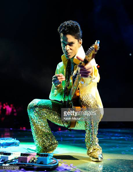 Prince performs during his 'Welcome 2 America' tour at The Forum on April 14 2011 in Inglewood California