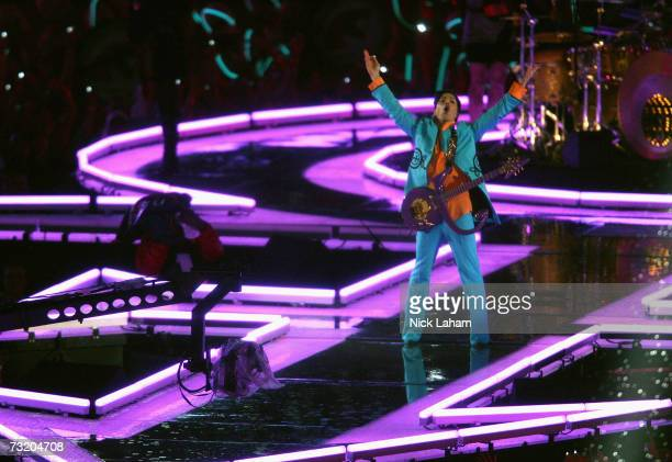 Prince performs during the 'Pepsi Halftime Show' at Super Bowl XLI between the Indianapolis Colts and the Chicago Bears on February 4 2007 at Dolphin...