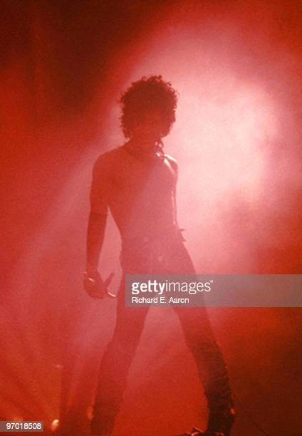 Prince performs live on stage at Rosemont Horizon in Chicago on December 10 1984 during his Purple Rain tour