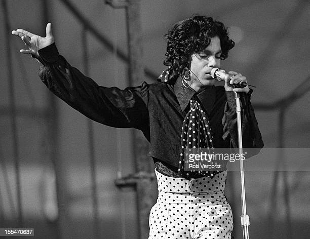 Prince performs on stage on the Lovesexy Tour at Feijenoord Stadion De Kuip Rotterdam Netherlands 17th August 1988