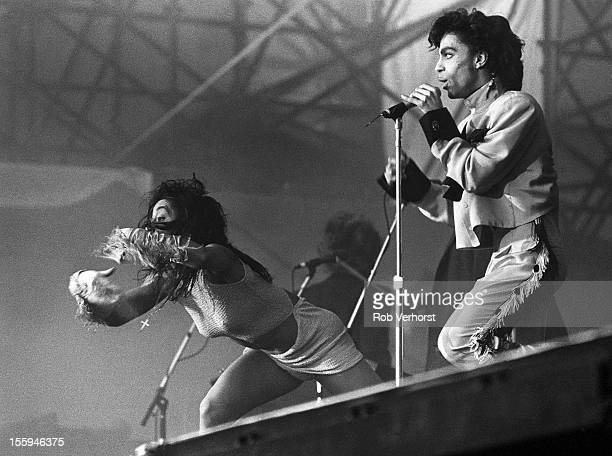 Prince performs on stage with Cat Glover on his Sign 'o' the Times Tour Nieuw Galgerwaard Utrecht Netherlands 19th June 1987
