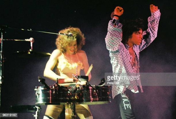 Prince performs on stage with Sheila E on his Lovesexy tour at Wembley Arena on August 3rd 1988 in London United Kingdom