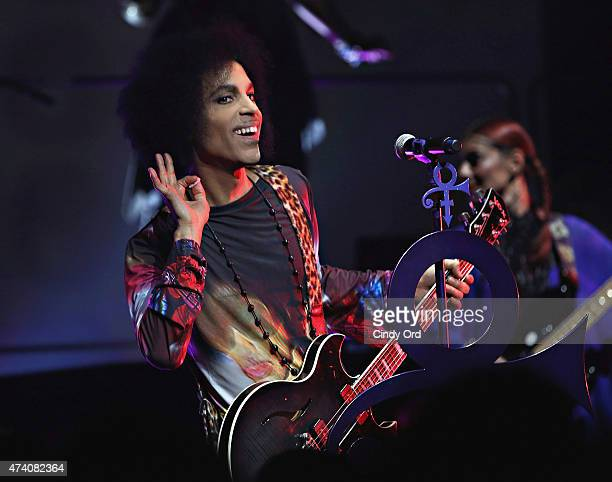 Prince performs onstage with 3RDEYEGIRL during their 'HITnRUN' tour at Sony Centre For The Performing Arts on May 19 2015 in Toronto Canada