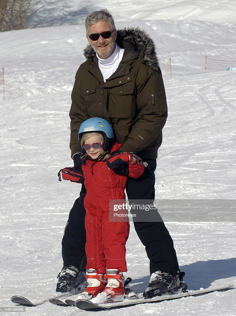 VERBIER , SWITZERLAND - FEBRUARY 22, 2012: Prince Philip and daughter Princess Eleanore on the ski slopes during the Royal Family Skiing Holiday on February 22,2012 in Verbier,Switzerland.