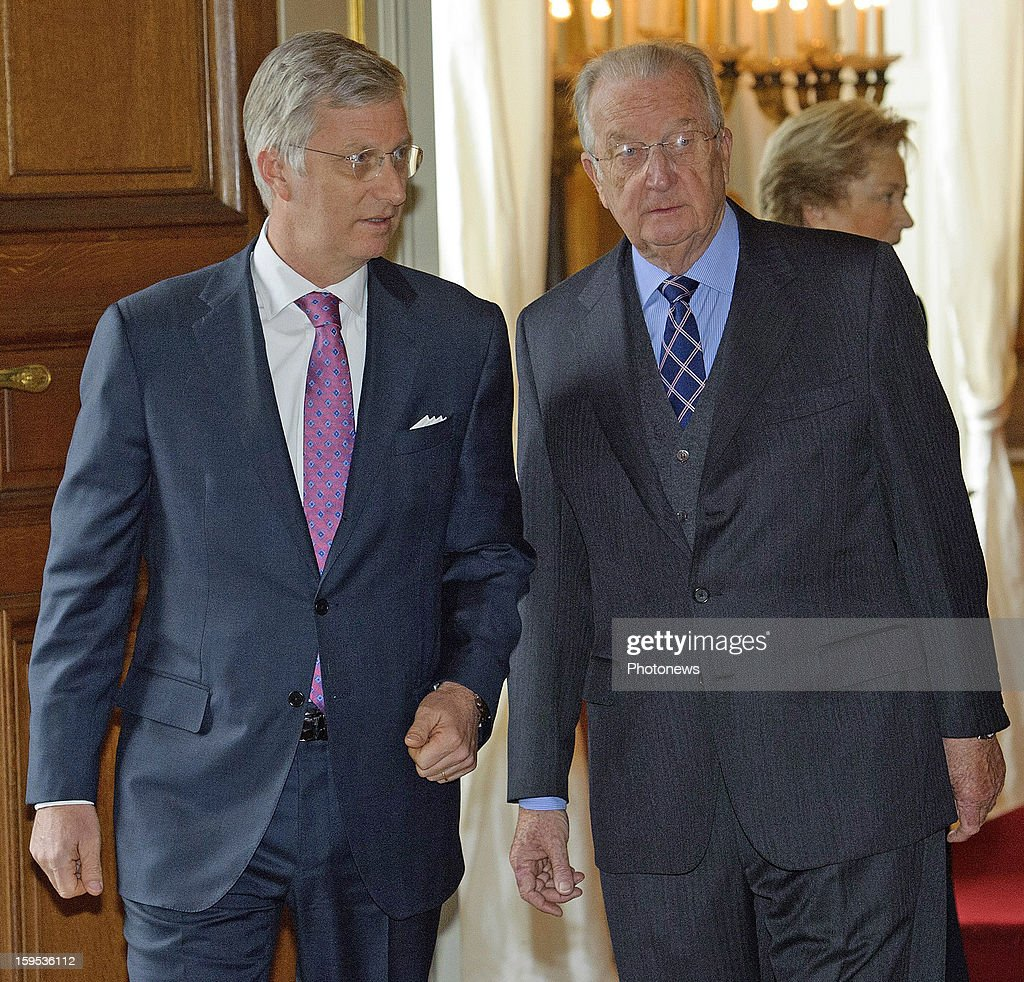 <a gi-track='captionPersonalityLinkClicked' href=/galleries/search?phrase=Prince+Philip&family=editorial&specificpeople=92394 ng-click='$event.stopPropagation()'>Prince Philip</a> and King Albert II of Belgium attend a new year reception held for NATO/SHAPE at the Royal Palace on January 15, 2013 in Brussels, Belgium.