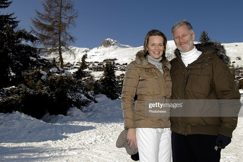 VERBIER , SWITZERLAND - FEBRUARY 22, 2012: Prince Philip and Princess Mathilde of Belgium on the ski slopes during the Royal Family Skiing Holiday on February 22,2012 in Verbier,Switzerland.