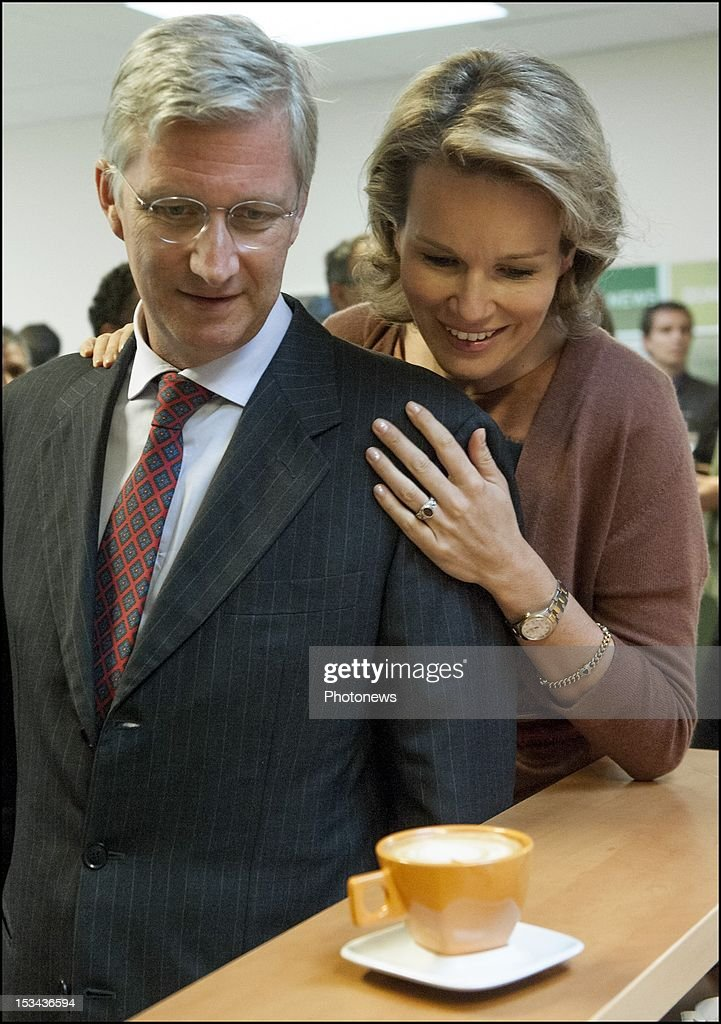 Prince Philip and Princess Mathilde pictured visiting the 'Cafe Liegeois' firm that produces a fair trade coffee, on October 5, 2012 in Battice, Belgium.