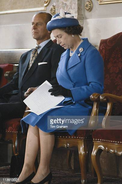 Prince Philip and Queen Elizabeth II who is preparing to make a speech in Berne while on an official fourday visit to Switzerland between 29 April...