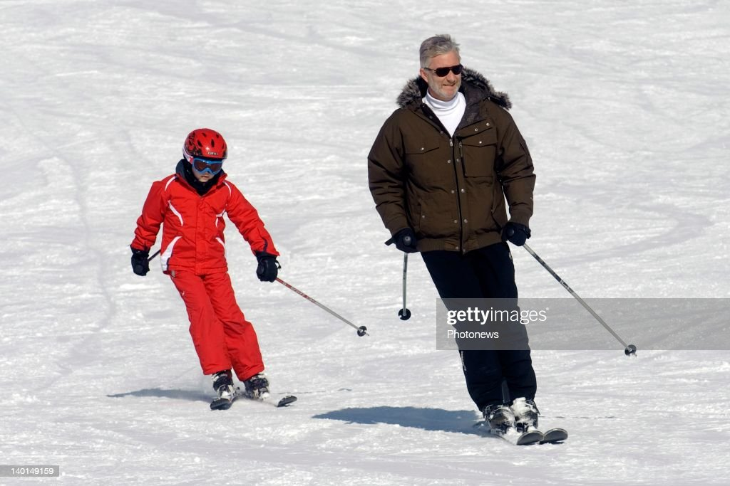 VERBIER , SWITZERLAND - FEBRUARY 22, 2012: Prince Philip (R) and son Prince Gabriel (L) on the ski slopes during the Royal Family Skiing Holiday on February 22,2012 in Verbier,Switzerland.