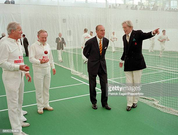 Prince Philip attends the opening of the new MCC Indoor Cricket School at Lord's Cricket Ground London with Nicholas Parsons Richard Stilgoe  and...