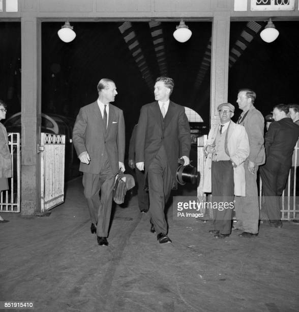 Prince Philip briefcase in hand walks from the train on arrival at Kings Cross His train was halted at Inverkeithing while a fire under the diesel...