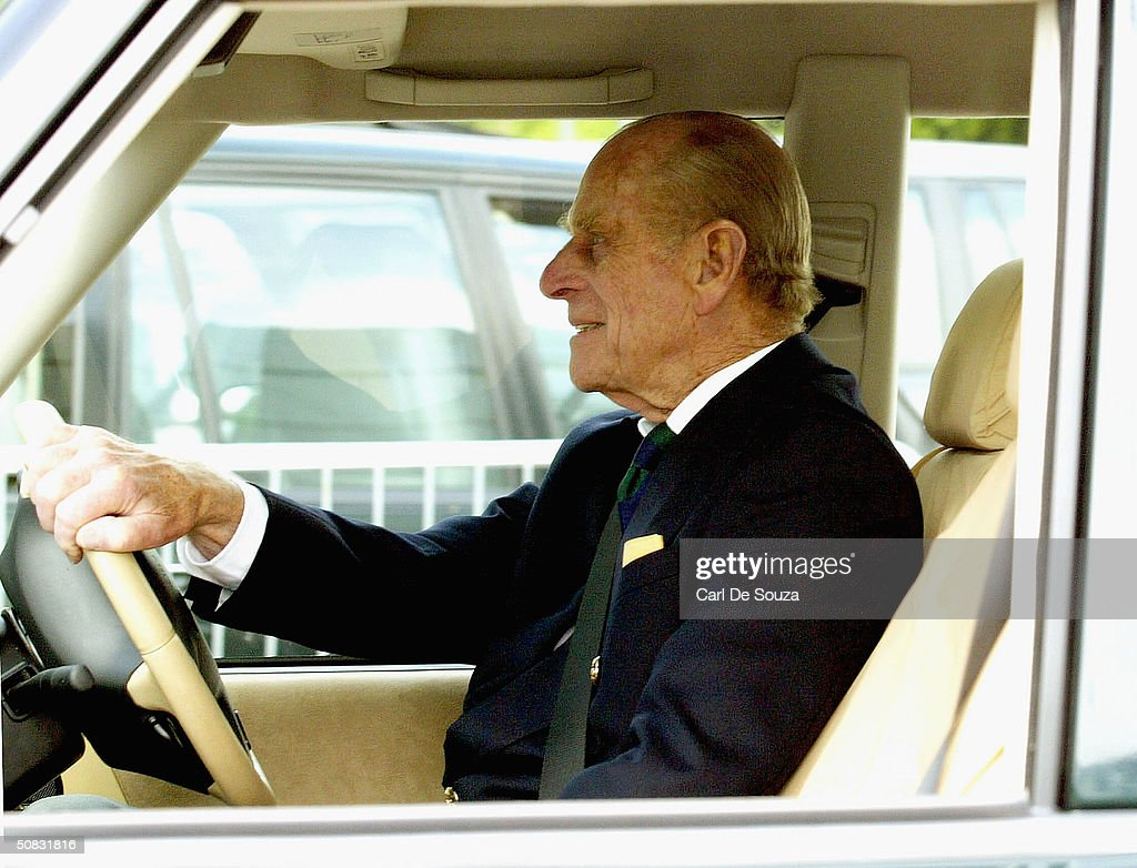 Prince Philip Drives A Land Rover As He Attends The First Day Of Royal Windsor